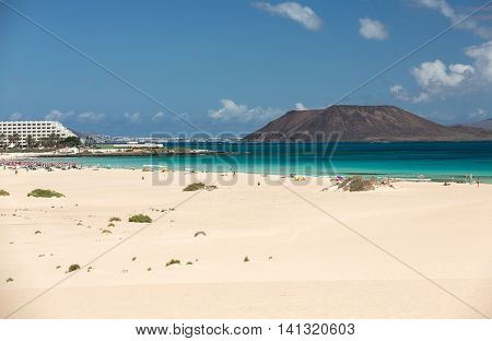 View of Lobos island from Beach in Corralejo Fuerteventura Canary Islands Spain