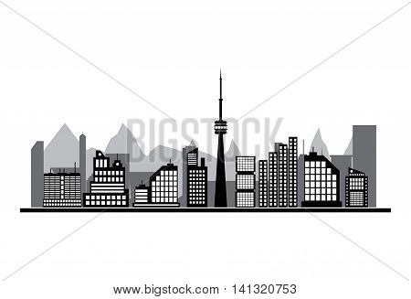 Morning city skyline. Buildings silhouette cityscape with mountains. Cityscape with office and residental buildings, television tower. white background. Vector illustration