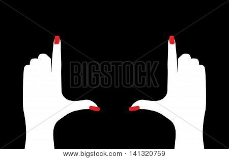 female hands framing composition  isolated on a black background
