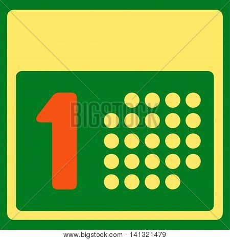First Date vector icon. Style is bicolor flat symbol, orange and yellow colors, rounded angles, green background.