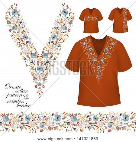 Vector design for collar shirts, blouses, T-shirt. Cute flowers. Colorful embroidery. Seamless border bonus. Blue brown