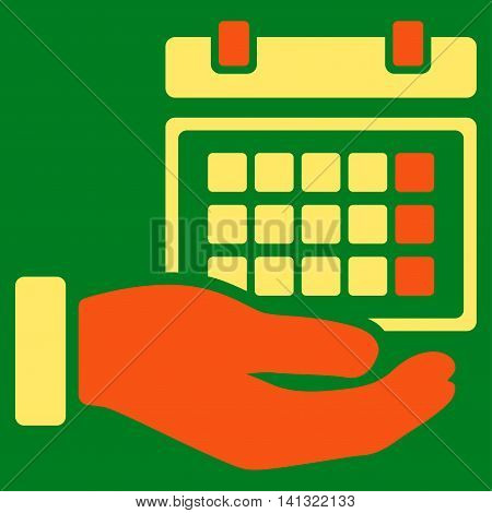 Service Timetable vector icon. Style is bicolor flat symbol, orange and yellow colors, rounded angles, green background.