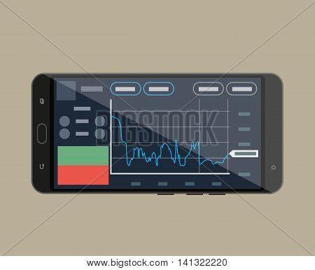 Smart-phone with trading application, mobile internet stocks trading. vector illustration in flat style on brown background