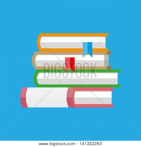 stack of books with bookmarks isolated on blue background. vector illustration in flat style
