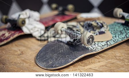 Skateboards On The Table. Urban Life. Youth Subculture