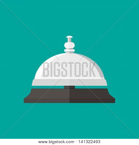 Reception service bell in flat style. vector illustration on green background