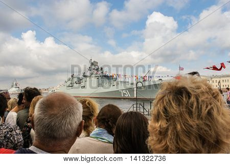 St. Petersburg, Russia - 31 July, Spectators at the parade of warships, 31 July, 2016. Festive day of the Navy in St. Petersburg.