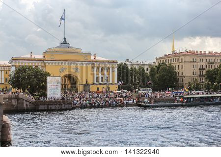 St. Petersburg, Russia - 31 July, A large crowd of spectators on the Admiralty Embankment, 31 July, 2016. Festive day of the Navy in St. Petersburg.