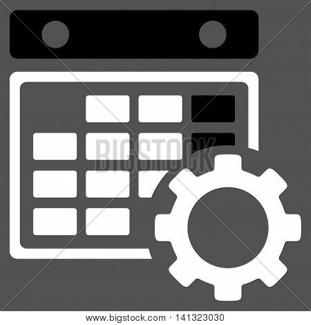 Organizer Adjustment vector icon. Style is bicolor flat symbol, black and white colors, rounded angles, gray background.