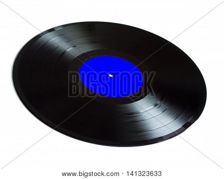 Black long-play vinyl records with blue label isolated on white background. Side view closeup
