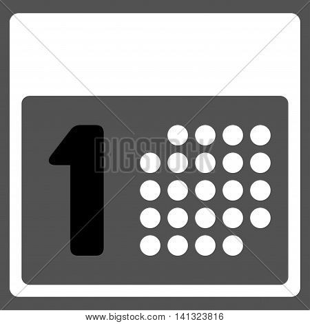 First Day vector icon. Style is bicolor flat symbol, black and white colors, rounded angles, gray background.