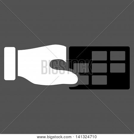 Timetable Properties vector icon. Style is bicolor flat symbol, black and white colors, rounded angles, gray background.