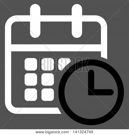 Timetable vector icon. Style is bicolor flat symbol, black and white colors, rounded angles, gray background.