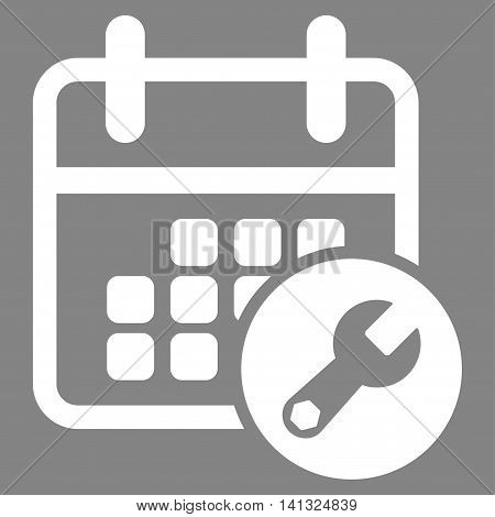 Organizer Settings vector icon. Style is flat symbol, white color, rounded angles, gray background.
