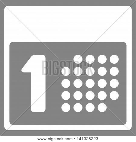 First Day vector icon. Style is flat symbol, white color, rounded angles, gray background.