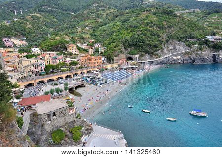 landscape overlooking on the beach at Monterosso finve lands- Italy
