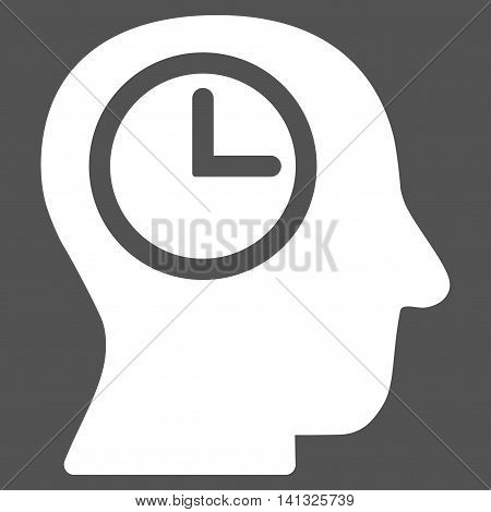 Time Manager vector icon. Style is flat symbol, white color, rounded angles, gray background.