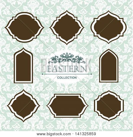 Vector vintage collection: Baroque and antique frames ornamental design elements on a victorian floral background.