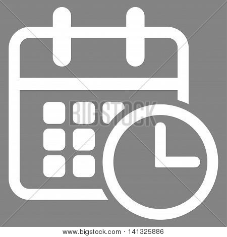 Timetable vector icon. Style is flat symbol, white color, rounded angles, gray background.