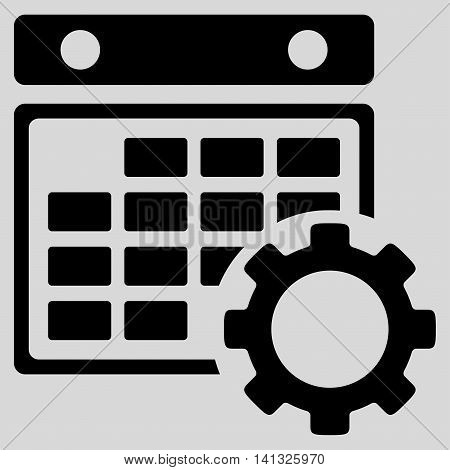 Binder Tuning vector icon. Style is flat symbol, black color, rounded angles, light gray background.