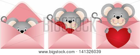 Scalable vectorial image representing a cute mouse inside love letter, isolated on white.