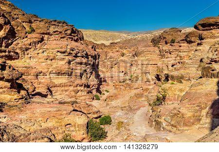 Wadi Jeihoon, the path to the Monastery El Deir at Petra - Jordan