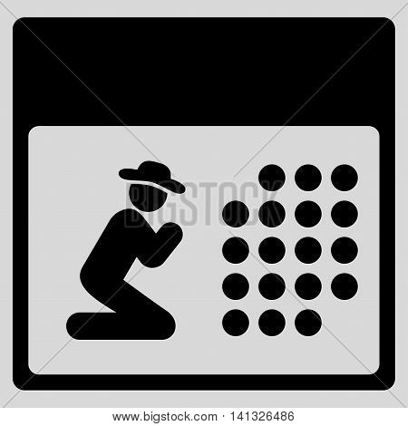 Pray Organizer vector icon. Style is flat symbol, black color, rounded angles, light gray background.