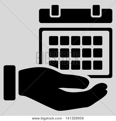 Service Timetable vector icon. Style is flat symbol, black color, rounded angles, light gray background.