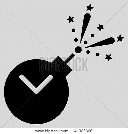 Time Fireworks Charge vector icon. Style is flat symbol, black color, rounded angles, light gray background.