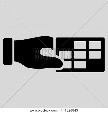 Timetable Properties vector icon. Style is flat symbol, black color, rounded angles, light gray background.