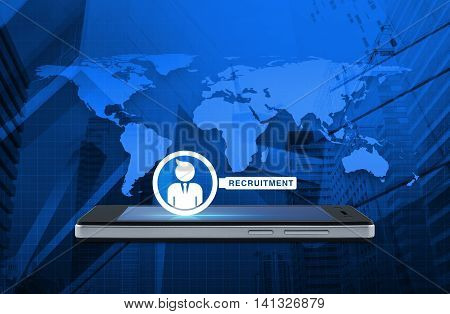 Businessman with magnifying glass icon on modern smart phone screen over map and city tower background Recruitment concept Elements of this image furnished by NASA
