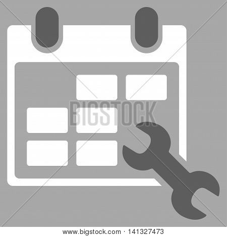 Configure Timetable vector icon. Style is bicolor flat symbol, dark gray and white colors, rounded angles, silver background.