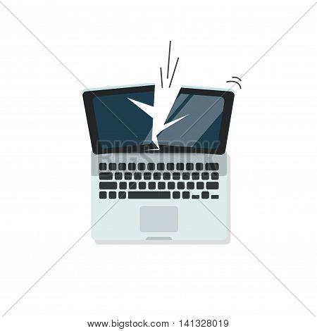Broken laptop vector illustration isolated on white color background, crashed computer flat cartoon design