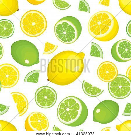Vector seamless background of citrus products - lemon and lime on white background. Whole fruits and slices. Cover design.