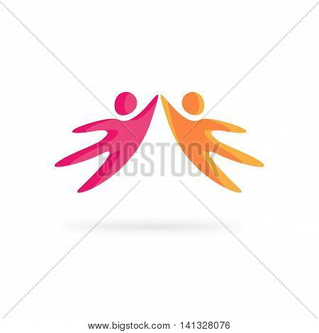 Creative people logo vector template isolated on white background, abstract happy motivated friends together holding hands, concept of family support, social community network logotype design
