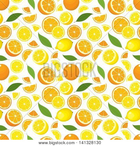 Vector seamless pattern of citrus products - lemon and orange with leaves. Fruit slices on white background. Cover design.