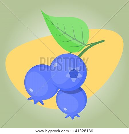 Blueberry colorful icon. Vector illustration in cartoon style