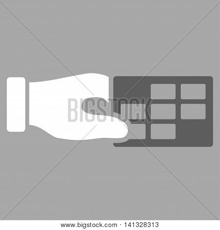 Timetable Properties vector icon. Style is bicolor flat symbol, dark gray and white colors, rounded angles, silver background.