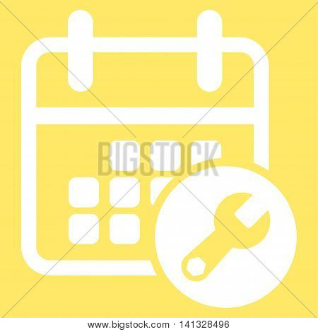 Binder Tools vector icon. Style is flat symbol, white color, rounded angles, yellow background.