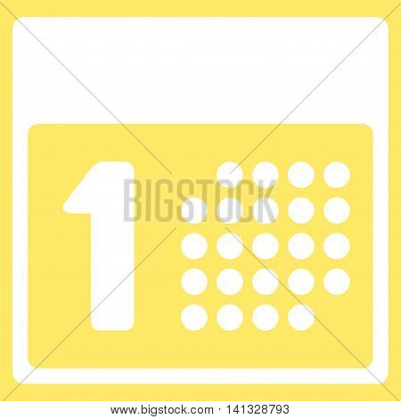 First Date vector icon. Style is flat symbol, white color, rounded angles, yellow background.