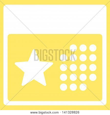 Holiday Binder vector icon. Style is flat symbol, white color, rounded angles, yellow background.