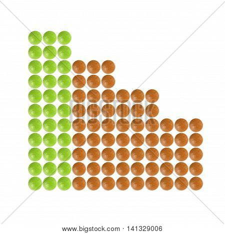 Plenty of green and orange pills shaped in columnar diagram form on white background