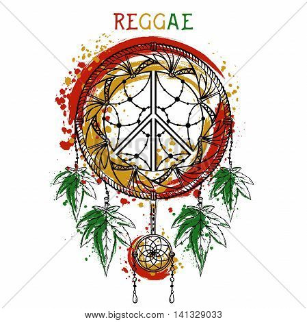 Dreamcatcher with cannabis leaves and peace symbol. Jamaica theme. Design concept in reggae colors for banner, card, t-shirt, bag, print, poster. Vector illustration