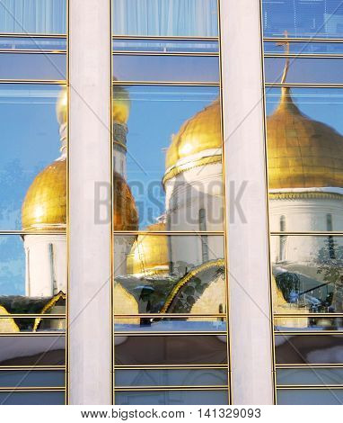 Assumption church, glass window reflection. Moscow Kremlin. UNESCO World Heritage Site.