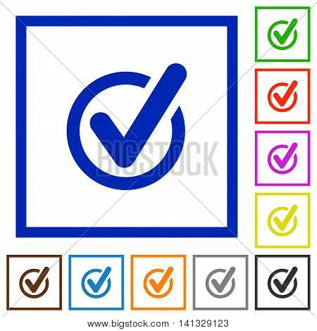 Set of color square framed checked data flat icons