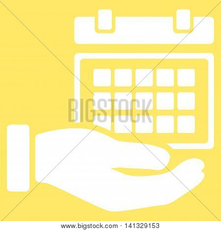 Service Timetable vector icon. Style is flat symbol, white color, rounded angles, yellow background.