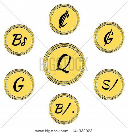 Set of Coins with Symbols of 9 South American Currencies. Hand Drawn Coins. Vector EPS 10
