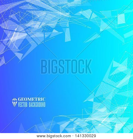 Futuristic background with geometric triangular fragments and dots.Flying space debris.Abstract blue backdrop for business presentation.