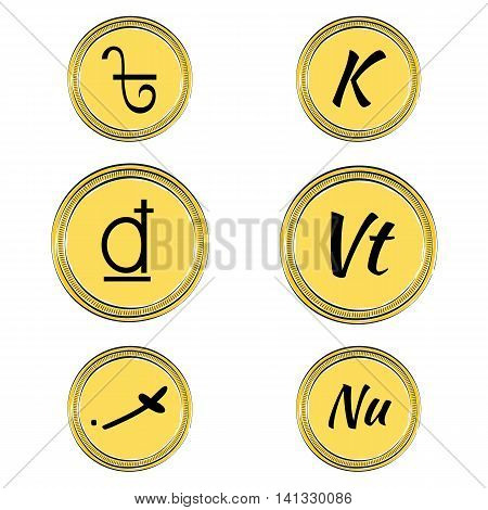 Set of Coins with Symbols of 9 South Asian Currencies. Hand Drawn Coins. Vector EPS 10