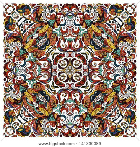 Ornamental doodle floral pattern, design for pocket square, textile, silk shawl, pillow, scarf. Blue brown red eastern ornament on white background. Batik